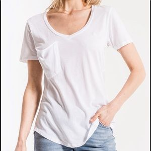 Z Supply V neck slouchy pocket tee white M
